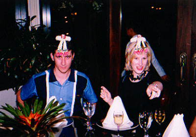 Adam and Jane with dufus headgear
